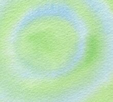 Watercolor Hand Painted Blue Green Bulls-Eye by Beverly Claire Kaiya