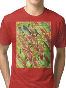 Watercolor Hand Painted Abstract Vegetable Salad Texture Tri-blend T-Shirt