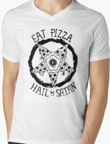 Eat Pizza Hail Satan Mens V-Neck T-Shirt