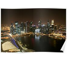 Singapore Harbour by Night Poster