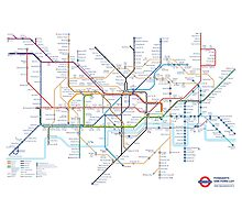 London Underground Tube Map as Anagrams Photographic Print