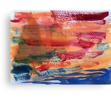Hand Painted Abstract Art Wine Red Orange Blue Texture Canvas Print