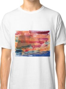 Hand Painted Abstract Art Wine Red Orange Blue Texture Classic T-Shirt
