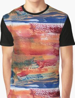 Hand Painted Abstract Art Wine Red Orange Blue Texture Graphic T-Shirt