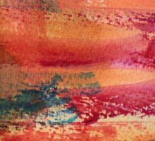 Hand Painted Abstract Art Wine Red Orange Blue Texture Sticker