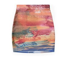 Hand Painted Abstract Art Wine Red Orange Blue Texture Mini Skirt