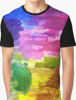 Colorful Hand Painted Rainbow Acrylic Abstract Psychedelic Art Graphic T-Shirt