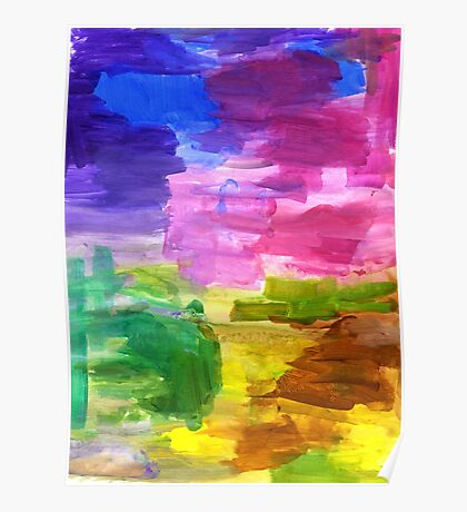 Colorful Hand Painted Rainbow Acrylic Abstract Psychedelic Art Poster