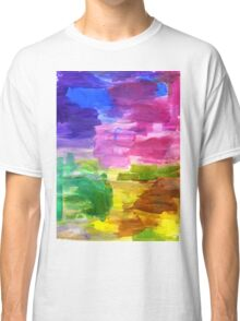 Colorful Hand Painted Rainbow Acrylic Abstract Psychedelic Art Classic T-Shirt