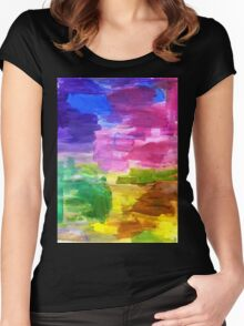 Colorful Hand Painted Rainbow Acrylic Abstract Psychedelic Art Women's Fitted Scoop T-Shirt