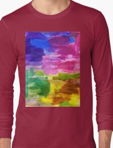 Colorful Hand Painted Rainbow Acrylic Abstract Psychedelic Art Long Sleeve T-Shirt