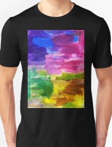 Colorful Hand Painted Rainbow Acrylic Abstract Psychedelic Art T-Shirt