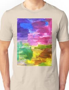 Colorful Hand Painted Rainbow Acrylic Abstract Psychedelic Art Unisex T-Shirt