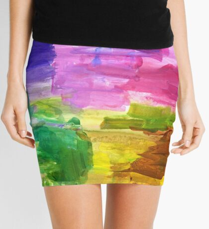 Colorful Hand Painted Rainbow Acrylic Abstract Psychedelic Art Mini Skirt