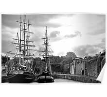 Sail ships in Dock Poster