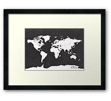 World map black and white F Framed Print