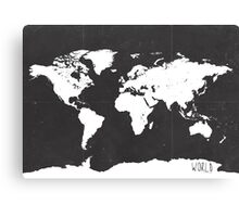 World map black and white F Canvas Print
