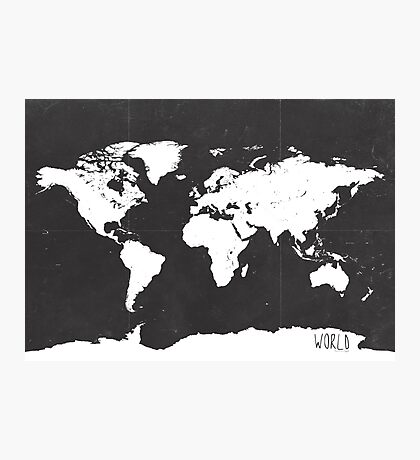 World map black and white F Photographic Print