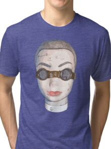 head with goggles  Tri-blend T-Shirt