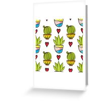 Seamless pattern of cacti and succulents in pots. Greeting Card