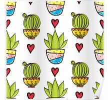 Seamless pattern of cacti and succulents in pots. Poster