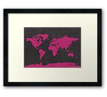 World map B PINK Framed Print