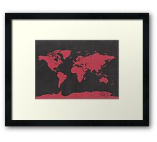 World map travel RED Framed Print