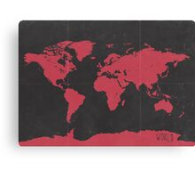 World map travel RED Canvas Print
