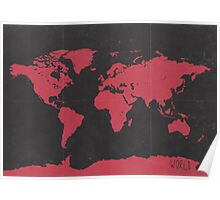 World map travel RED Poster