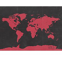 World map travel RED Photographic Print