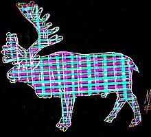 Reindeer - plaid -  Rentier - kariert   MW Art Marion Waschk by Marion Waschk