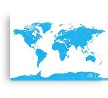 World map W blue Canvas Print