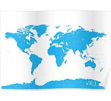 World map W blue Poster