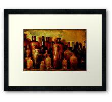 Bottles On Shelf Framed Print