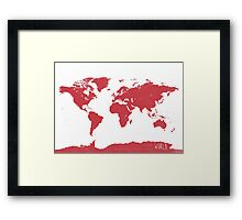 World map W REd Framed Print