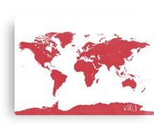World map W REd Canvas Print