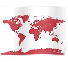 World map W REd Poster