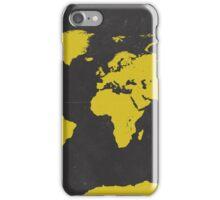 World stylish map Yellow Black iPhone Case/Skin