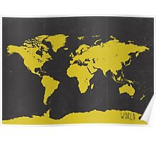 World stylish map Yellow Black Poster