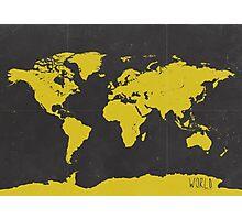 World stylish map Yellow Black Photographic Print