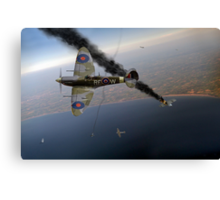 303 Squadron Spitfires in Channel dogfight Canvas Print
