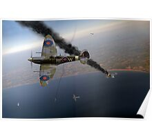 303 Squadron Spitfires in Channel dogfight Poster