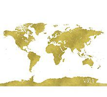 World map GOLD Photographic Print