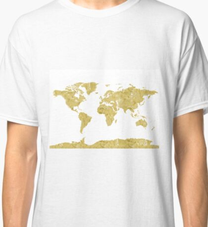 World map Gold paint Classic T-Shirt