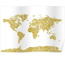 World map Gold paint Poster