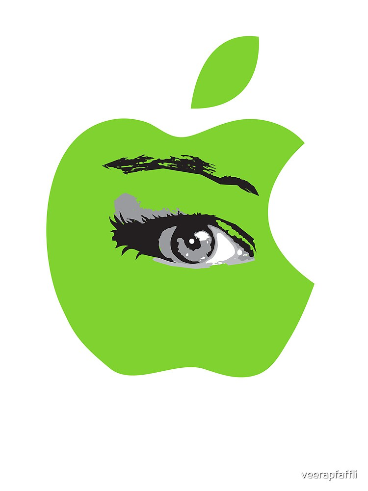 Isee green apple with an eye vector by Veera Pfaffli