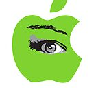 Isee green apple with an eye vector by Veera Pfaffli