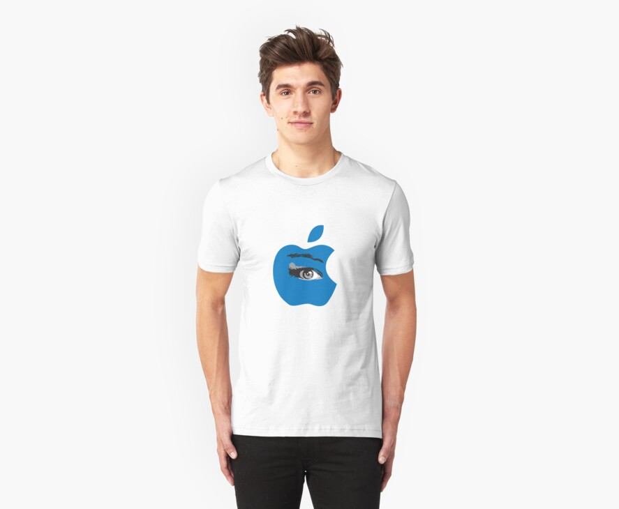 Isee blue apple with an eye vector by Veera Pfaffli