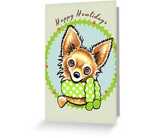 Long Haired Chihuahua Happy Howlidays Greeting Card