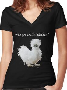 Silkie Chicken Women's Fitted V-Neck T-Shirt